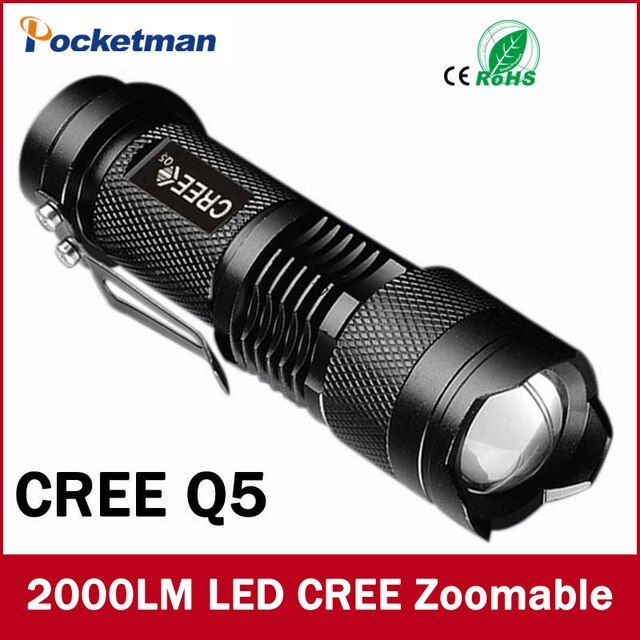 Mini LED Flashlight 2000 Lumens Waterproof CREE Q5 LED Flashlight 3 Modes Zoomable LED Torch penlight free shipping