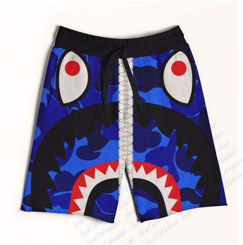 2 Colors Real AMERICAN US Size blue Shark Big Teeth Zip Up Print 3D Sublimation Print Fifth & Seventh Shorts with String