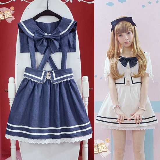 cute girl skirt preppy style bow laciness roll up hem sailor collar denim braces skirt twinset womens skirts