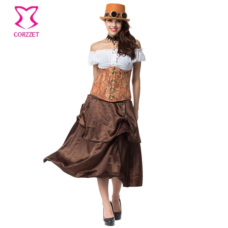 Vintage Steampunk Corset Underbust Slim Waist Gothique Corsets and Bustiers With Skirt Steel Bone Burlesque Corset Dresses Brown