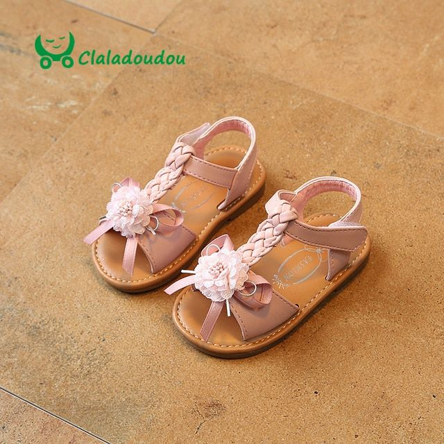 Claladoudou 12-14CM Girls Princess Flower Sandals PU Leather Knit Strap Flat Sandals Kids Sandals For Baby Girl Summer Shoes