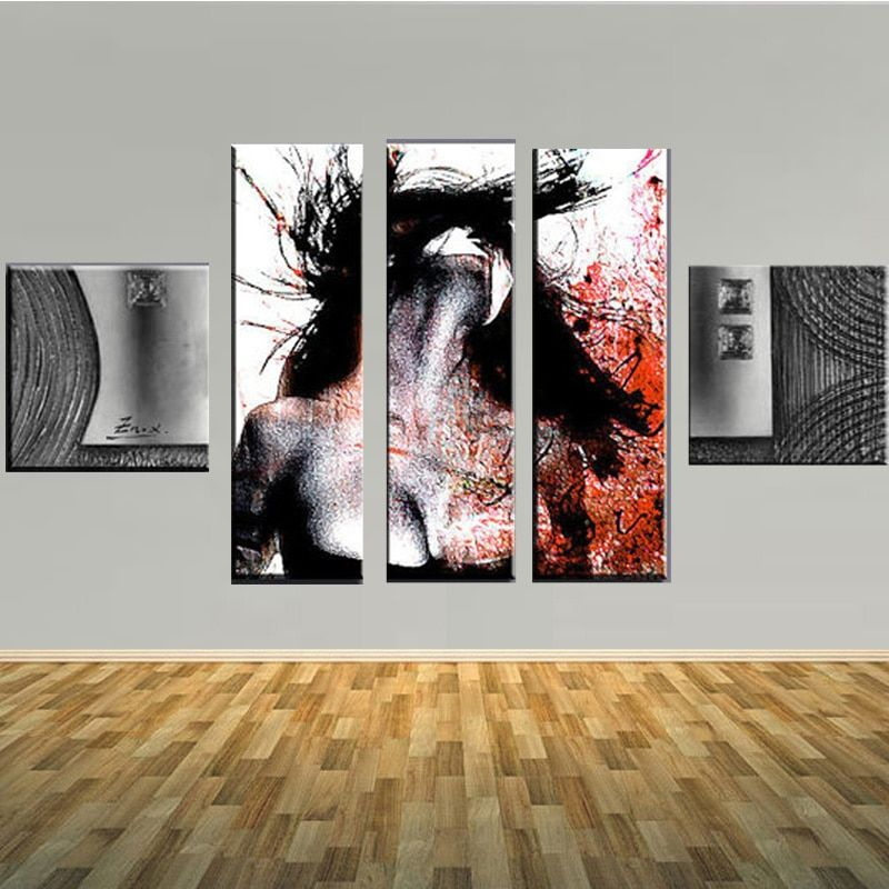 Modern Design Figure Oil Painting On Canvas Art Large Size 5 Panels Wall Art For Living Room Wall Pictures Home Decor Painting
