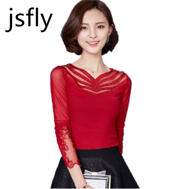 Blusas Femininas Shirts Women Blouses Gauze Hot Drilling 2017 Spring Women Top V-Neck Lace Blouse Lady Tops Pink Red Black CM678