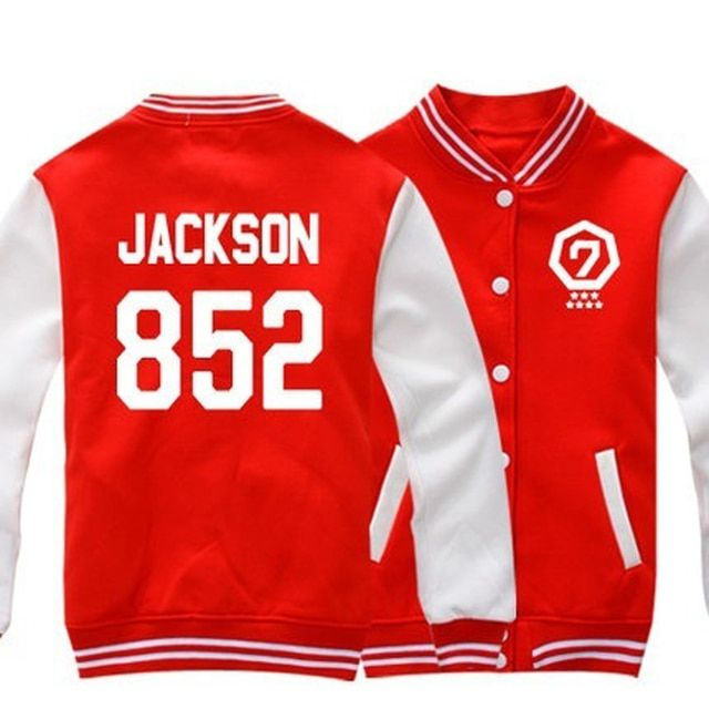 Hansung GOT7 Jackson Baseball Sweatshirt Fleece Tops Blouses Cardigans Red 852