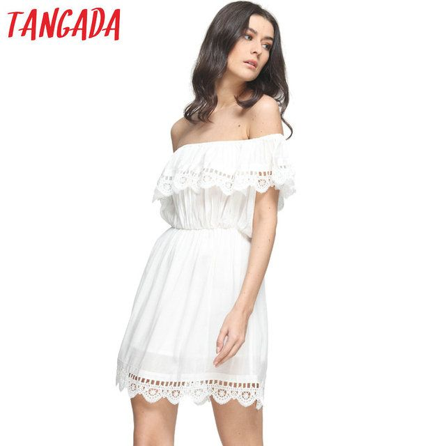 Tangada Fashion women Elegant Vintage sweet lace white Dress stylish sexy slash neck casual slim beach Summer Sundress vestidos