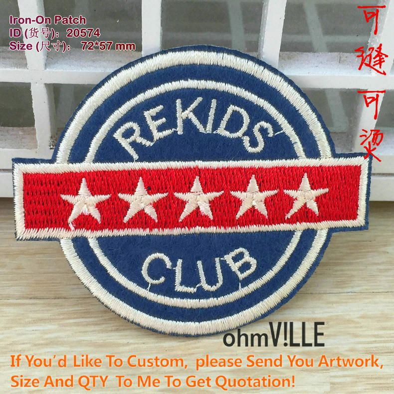 Patches Pekids Club 5 Stars Embroidery Patch Iron On Patches Embroidered Ironing Clothes Patch Parche Ropa Parche Militar 20574