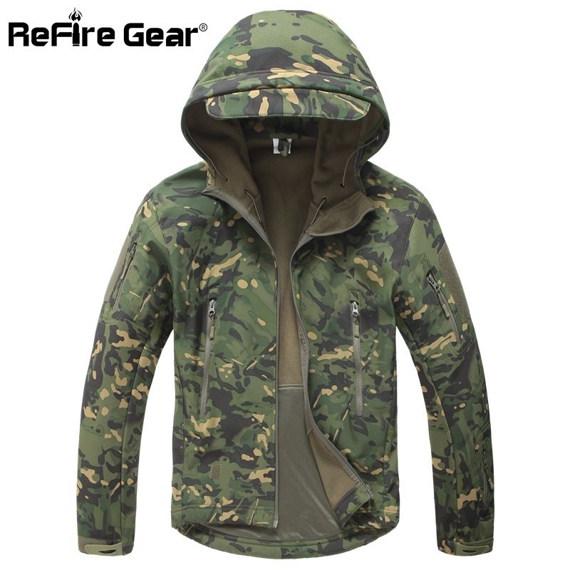 Lurker Shark Soft Shell Military Tactical Jacket Men Waterproof Warm Windbreaker Coat Camouflage Hooded Jacket US Army Clothing