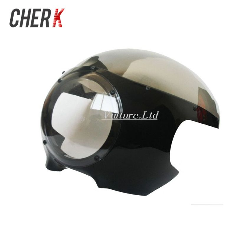 "Cherk 5 3/4"" Cafe Racer Headlight Fairing Windscreen For Harley Sportster 883 1200 XL Dyna 39mm Forks New Motorcycle Accessories"