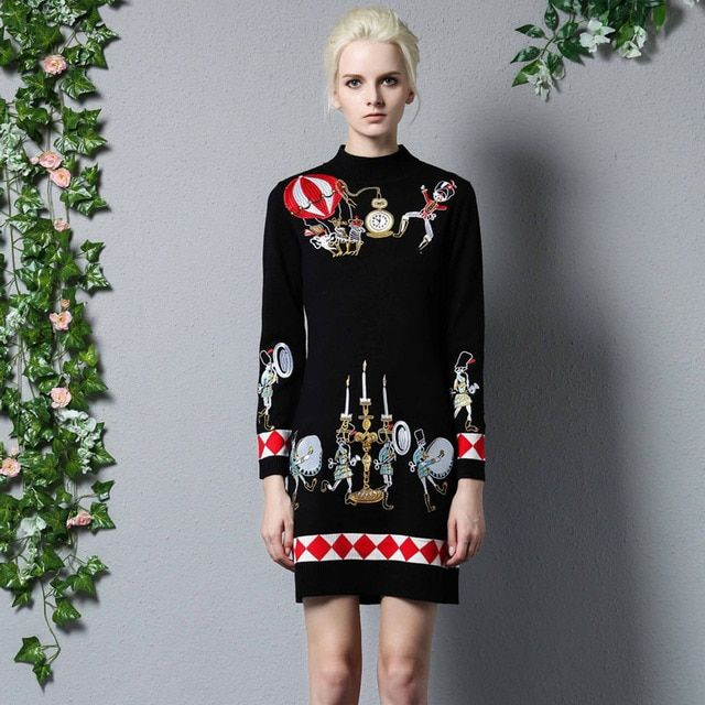 2017 Fall Winter Dress Women Runway Vintage Embroidery Sweater Dresses Long Sleeve Slim Sheath Bodycon Knitting Dress Casual