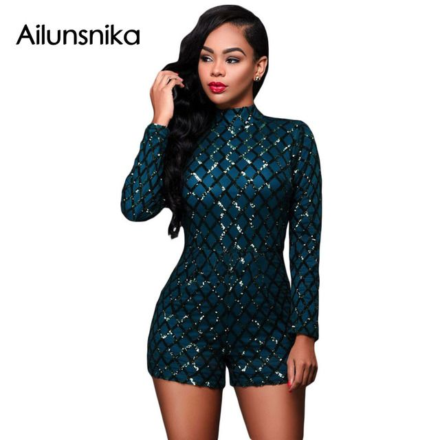 2018 New arrival hot sales party playsuit club elegant Womans Sexy Dark Green fashion Diamond Sequins Long Sleeve Romper DL64189