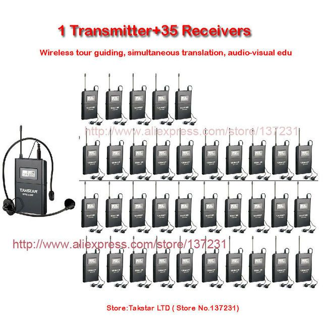 NEW Takstar WTG-500/WTG 500 UHF PLL Wireless Acoustic Transmission System 1 Transmitter+35 Receivers+1 Headworn MIC+35 Earphone