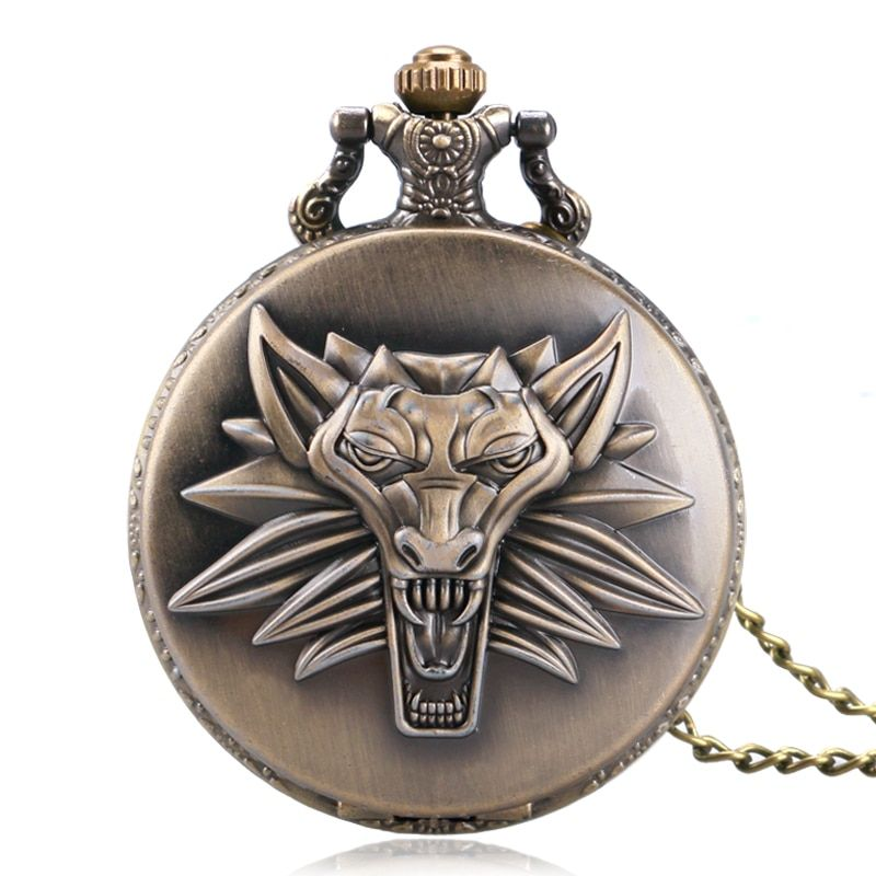 Steampunk Antique Bronze Leo constellation Pendant Pocket|Watch Chain Awesome Lion Head Design Quartz Watches Gift for LEO P1058