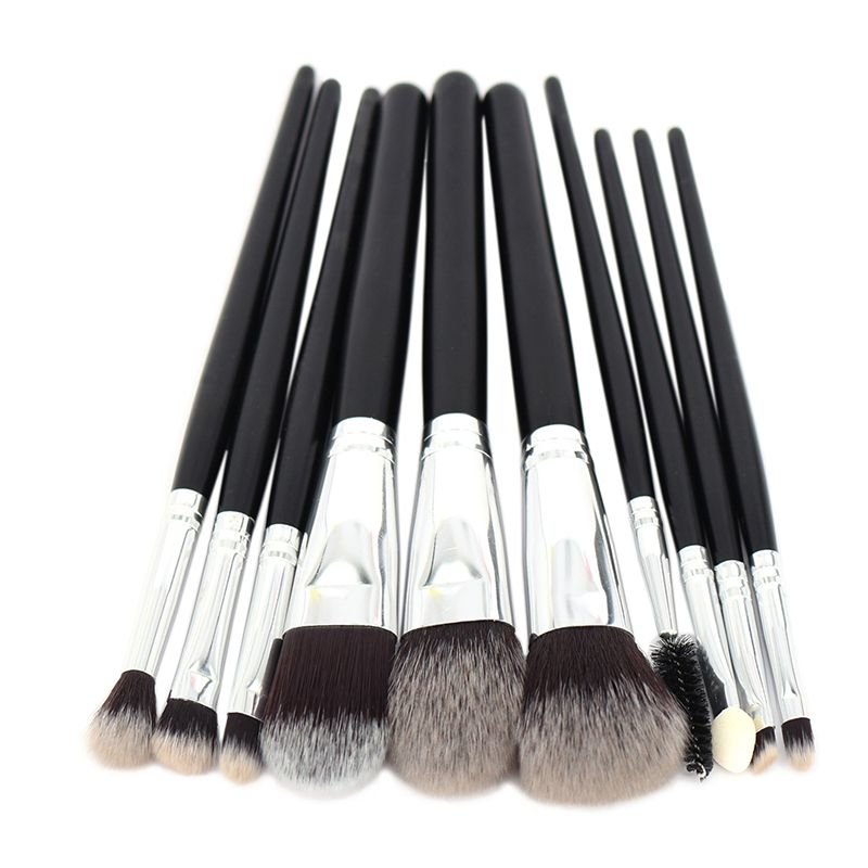 10pcs Makeup Brushes Set Powder Foundation Blush Concealer Eyeshadow Eyebrow Eyeliner Eyelash Lipgloss Beauty Tools Kit