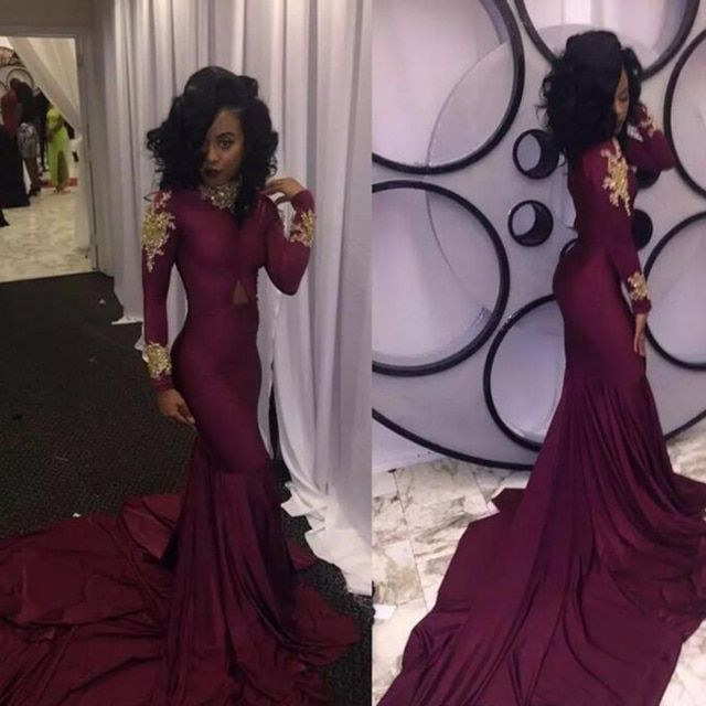 2019 Fashion Women Wine Red Prom Dress Sexy South African Gold Appliques Burgundy Long Formal Evening Party Gown Custom Made