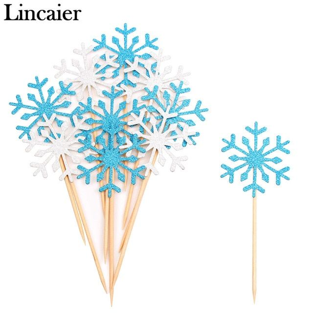 Lincaier 10 Pieces Snowflake Cupcake Toppers 2017 Merry Christmas Decorations for Home Supplies Ornaments Toys New Year