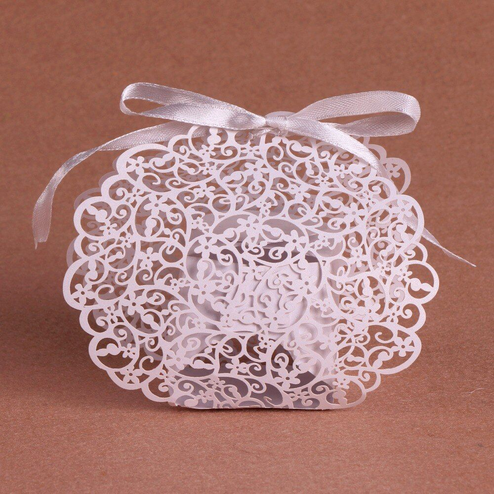 50Pcs Flower Candy Box Wedding Favors and Gifts Laser Cut Wedding Favor Box Party Favors Gifts Box For Baby Shower Party Favors