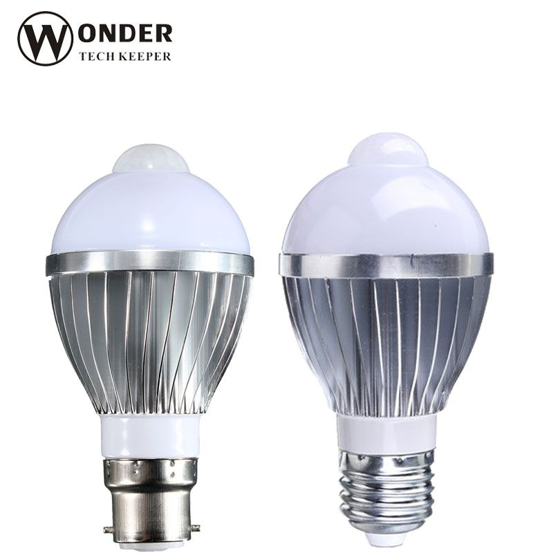 PIR LED bulbs lamp led pir motion sensor bulbs lighting E27 B22 aluminum high quality pir globe bulbs ac85~265V PIR Spotlights