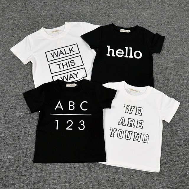 6m-5t Kids T shirts Letter Printed Cotton Short Sleeve Baby Boys Girls T Shirts Children Clothing Roupa infantil meninos Camisas