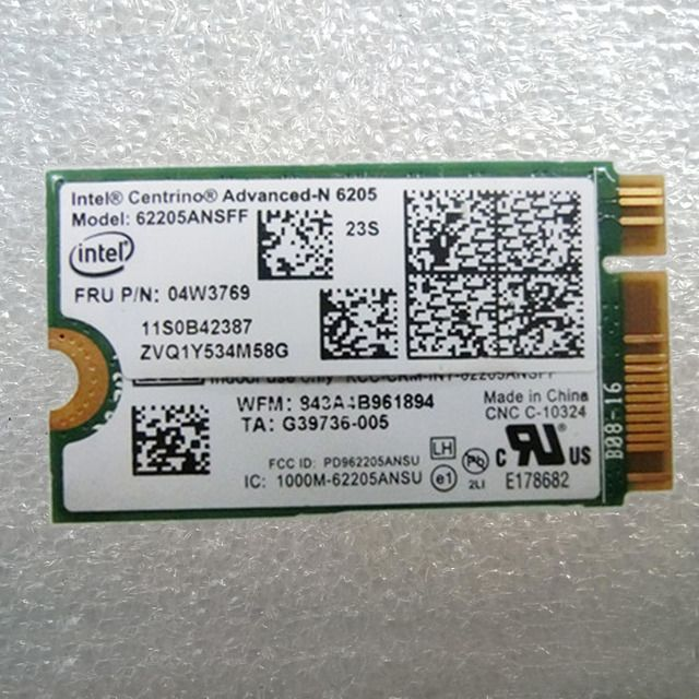 Int Centrino Advanced-N 6205 WLAN Adapter 62205ANSFF For Lenovo Thinkpad X1 Carbon, X1 Helix Series ,FRU 04W3769