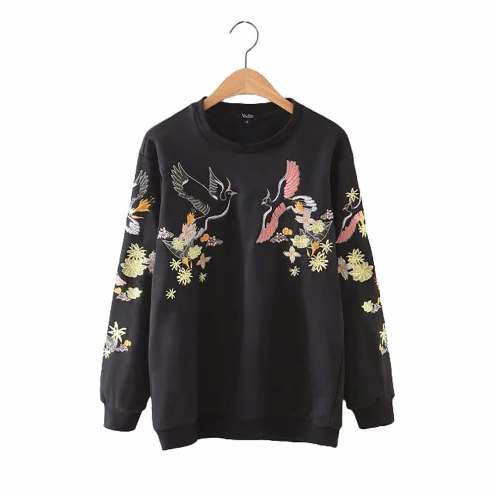 Women sweet floral phoenix embroidery pullovers long sleeve loose autumn female sweatshirts casual streetwear tops SW1038