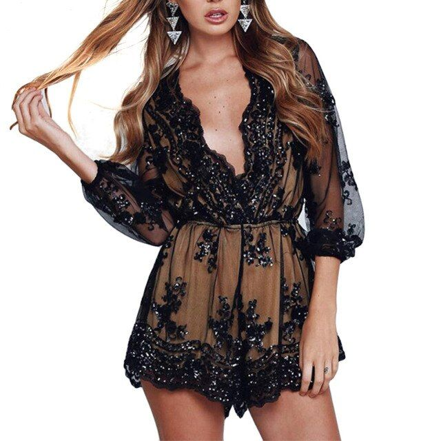 Women Deep v sequin playsuit women Tassel short mesh bodysuit summer beach club elegant lace jumpsuit rompers embroidery leotard