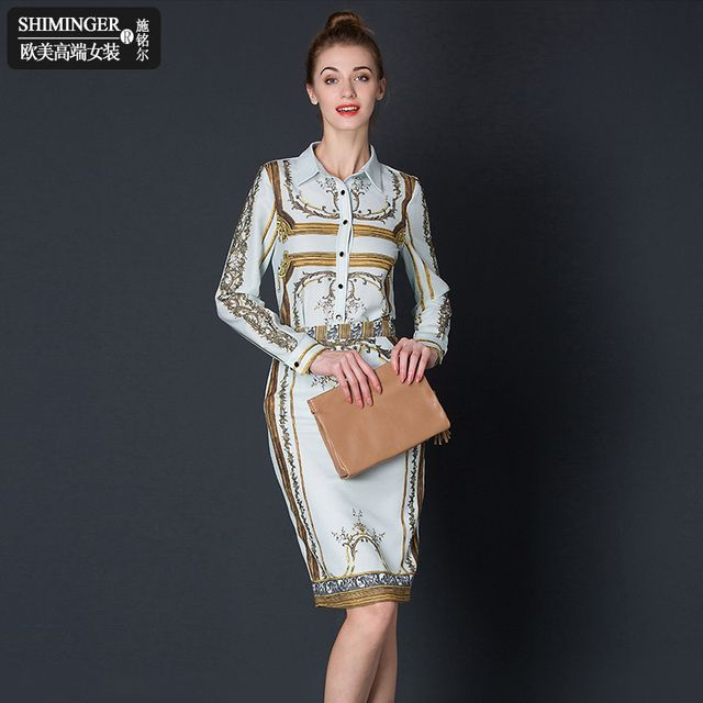 2016 Runway Designer Set Suits Women's High Quality Long Sleeve Turn Down Collar Gold Abstract Printed Blouses + Pencil Skirt