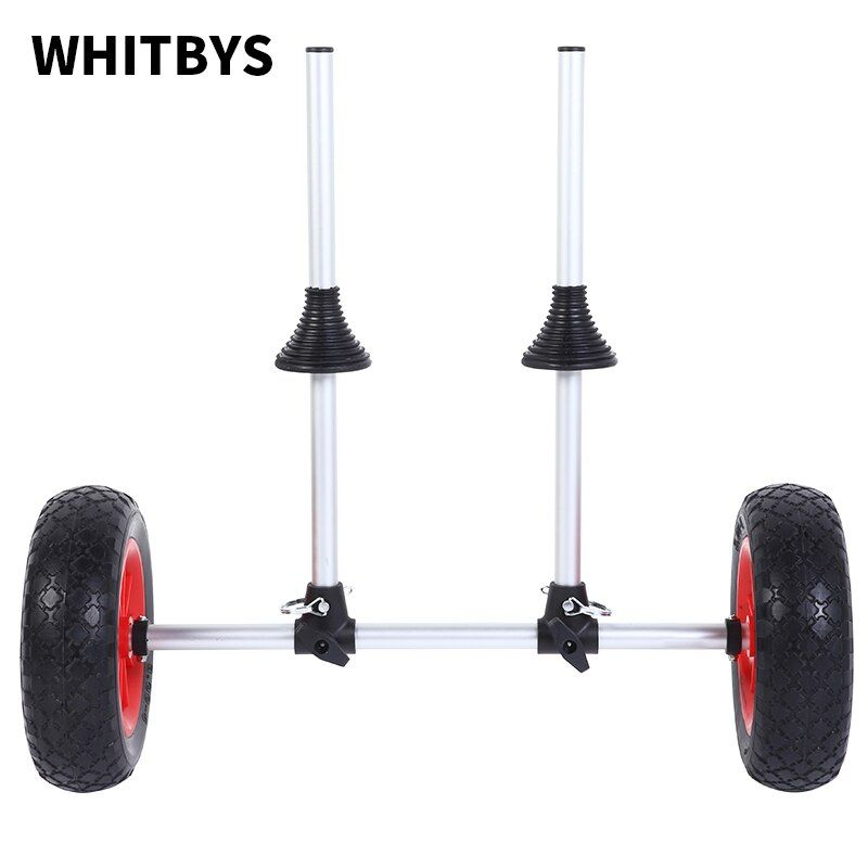 WHITBYS Fishing Kayak Accessories Sit On Top Kayak Trolley Collapsable Alloy Cart Plug-In Canoe Carrier