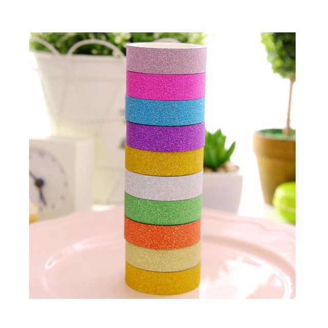 10 Pcs/set Glitter Washi Sticky Paper Masking Adhesive Tape Label Craft Decorative DIY