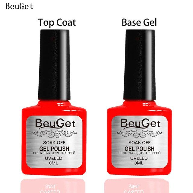 BeuGet 8 ml Soak off Top Coat/ Base gel curing  for UV/LED lamp Nail Polish Brighten for nail long-lasting for 3 Weeks or Above
