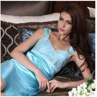 China Most Hot Selling Top Grade 100%  Silk nightgown sexy women pure silk skirt lounge female summer sleepwear