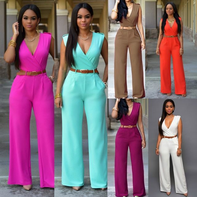 Ladies Rompers and Jumpsuits 2017 Summer Sexy Rompers for Women with Leather Belt Plus Size Overalls for Women Elegant Jumpsuit