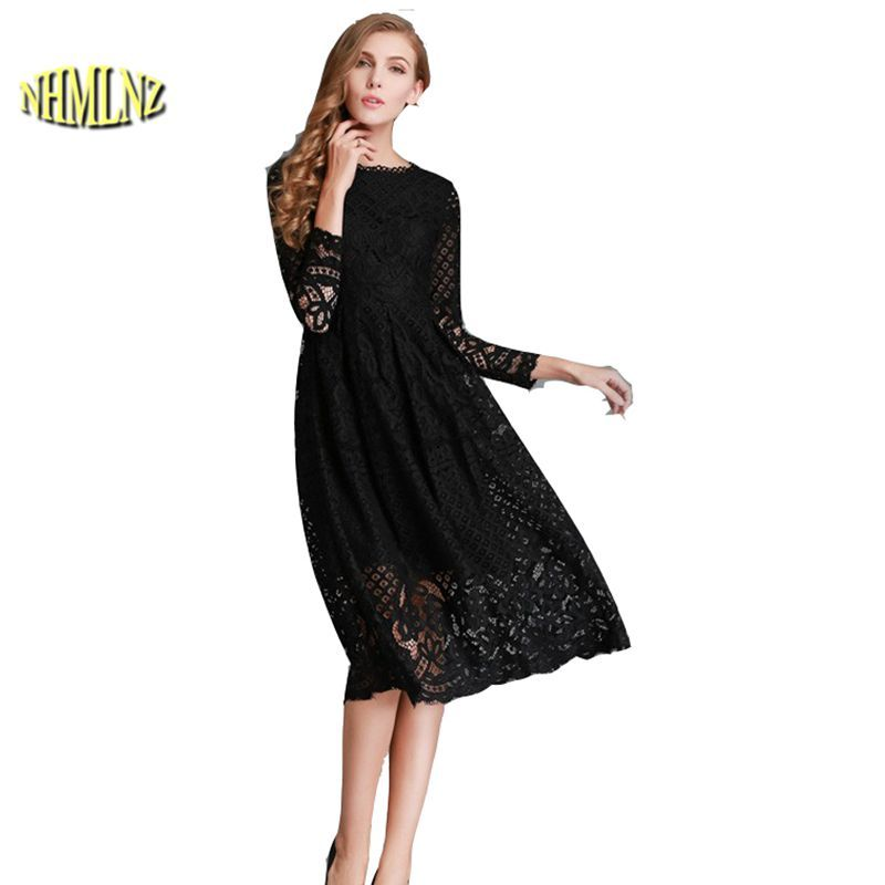 New 2017 Summer Fashion Hollow Out Elegant White Lace Elegant Party Dress High Quality Women Long Sleeve Casual Dresse G2535