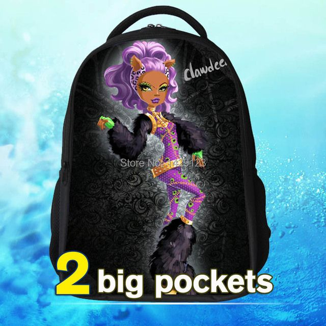 new fashin 2015 monster kids school bags printing monsters high bags for girls cute high quality monsters bags free shipping