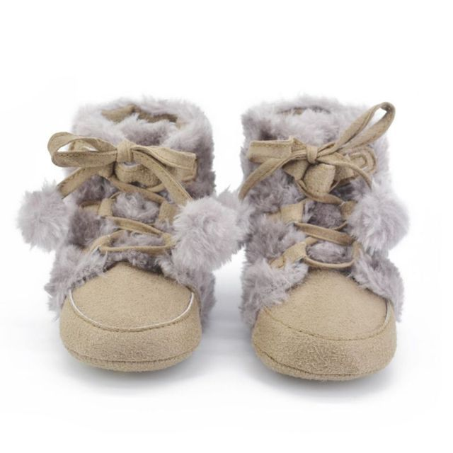 Winter Fleece Booties Infant Toddler Baby Girl Boy Snow Boots Non-slip Crib Shoes Laces