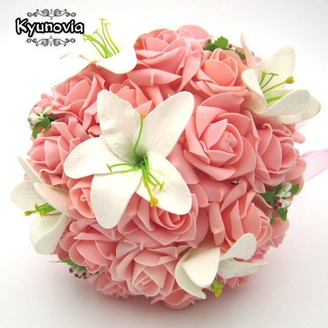 Kyunovia White Wedding Bouquet Artificial Rose Flowers Bridal Throw Bouquet Bridal Bouquets Wedding Bouquet Hand Flower FW160