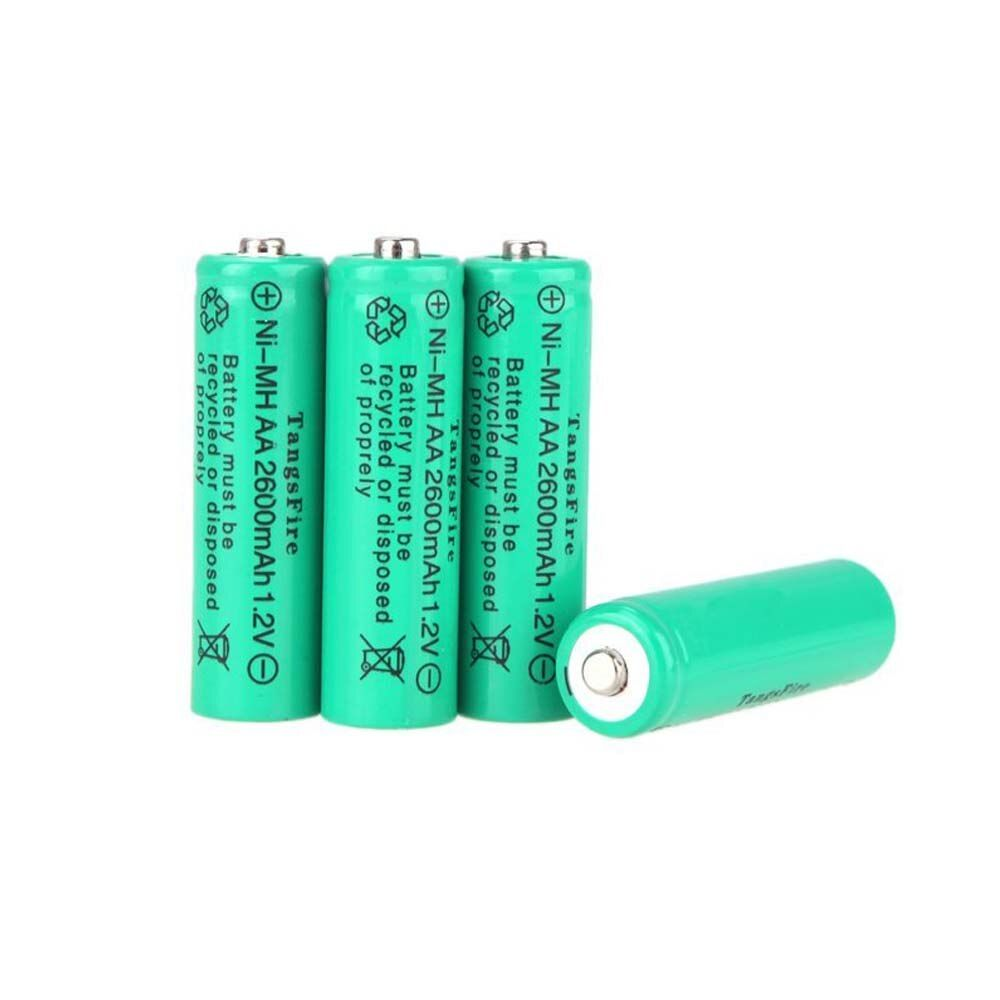 Top Deals TangsFire 4 x 2600 mAh 1.2 V AA Rechargeable Ni-MH Battery for Rechargeable Battery Light Torch LED Flashlight