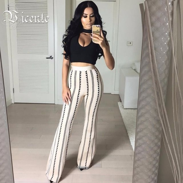 Free Shipping! 2017 New Runway Fashion Inspired Black Top Jackquard Wide Bottom Two Pieces Set Wholesale Women Bandage Set HL250