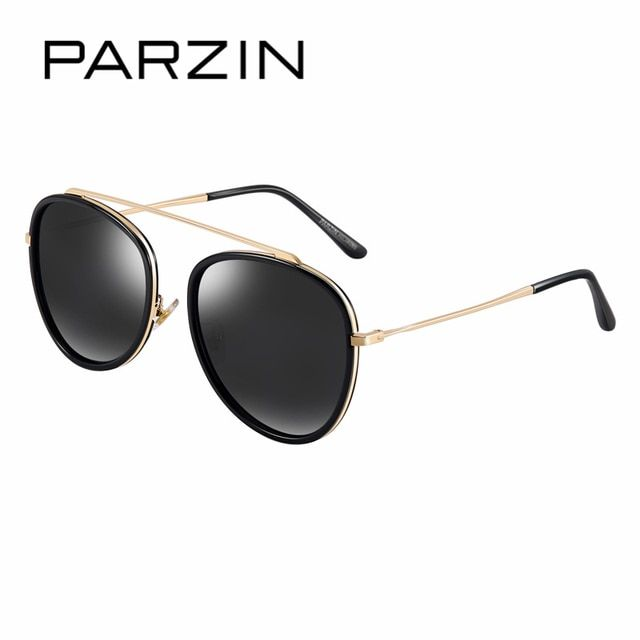 PARZIN Brand Cool Lady Alloy Frame Round Sunglasses For Women Polarized Anti UV400 Eyeglasses Driver Sun Glasses Accessories