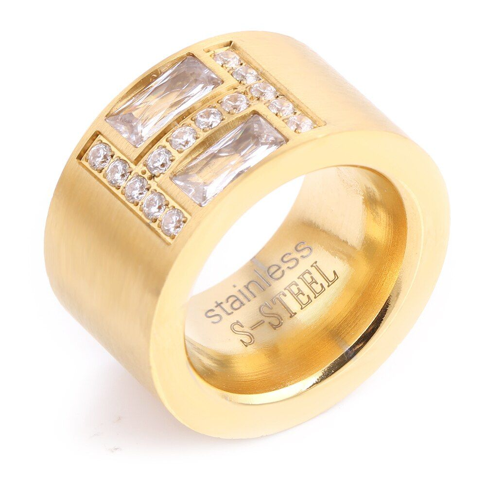 New Arrival Gold-Color Ring Bijoux 14mm Width Big Pave Setting CZ Zicon engagement Ring For Women Wedding  Jewelry