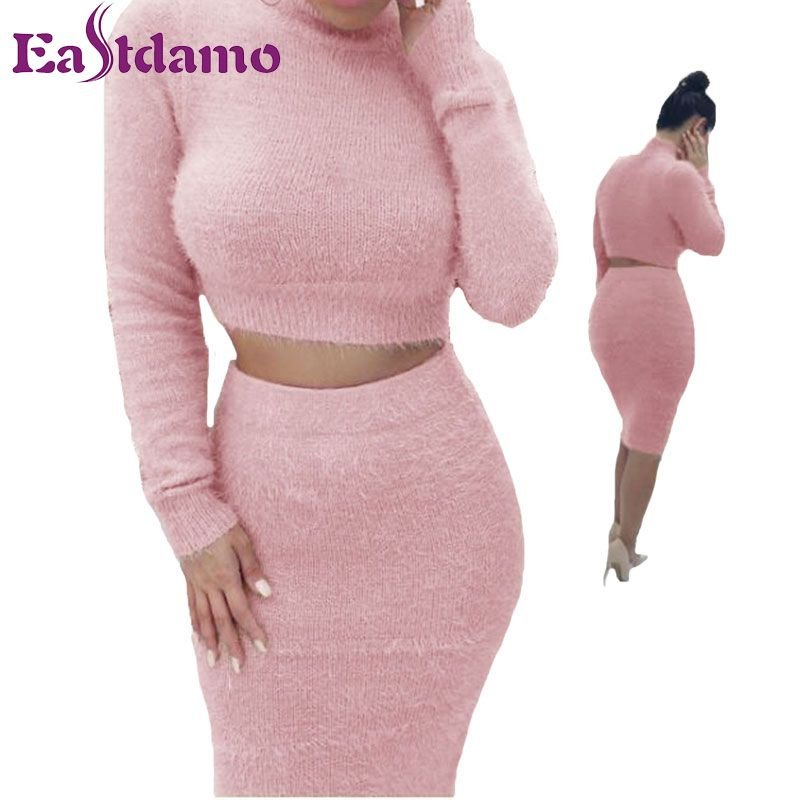 Eastdamo Winter Sweater Dress 2017 Two Pieces Outfits Long Sleeve Sweaters and Bandage Skirts Sexy 2 Piece Set Knitwear Female