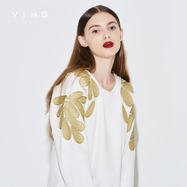 Ving 2017 Women Floral Embroidery Sweatshirt  O-Neck Pullover  Fashion Women's Sweatshirt