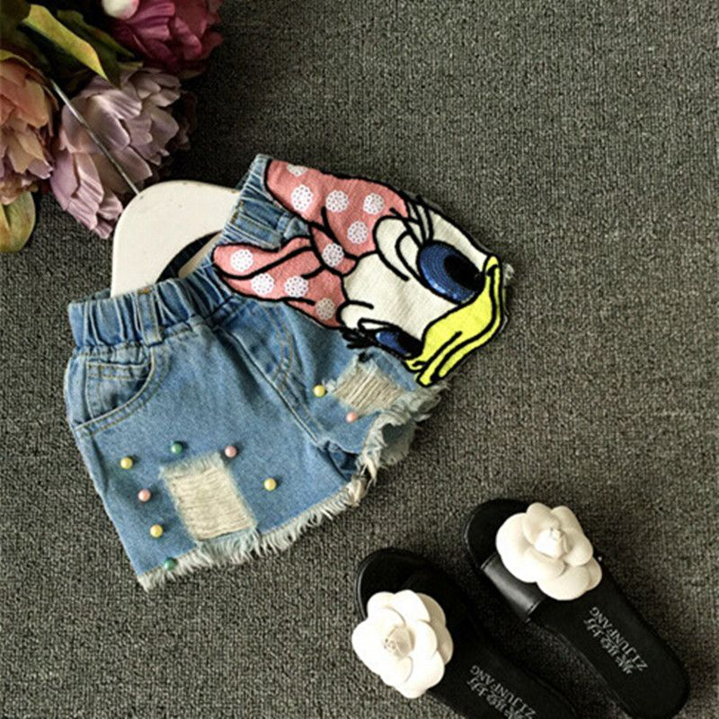 Baby girls shorts jeans duck design summer cotton children's shorts kids denim shorts for girls clothes toddler girl clothing