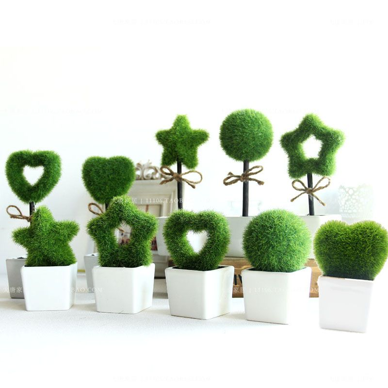 Furnishings green artificial plant bonsai fashion small artificial flower creative wedding decorations flowers with pot  /craft