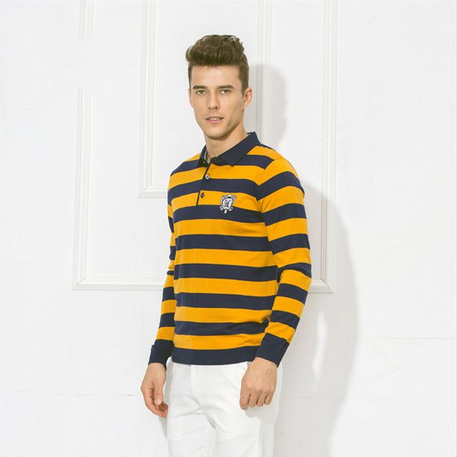 2016 Autumn Winter Stripe Sweater Men Brand Clothing Knitting Patterns Man Jumper Male Sweaters Polo Pullover M-2XL Size 50