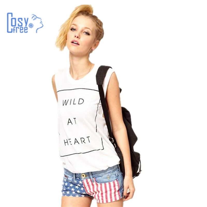 CosyFree 2017 New Cool Summer Long White T-Shirt Sleeveless Crew Neck Hot Letter Printed T Shirt Women Casual Shirt Women Tops