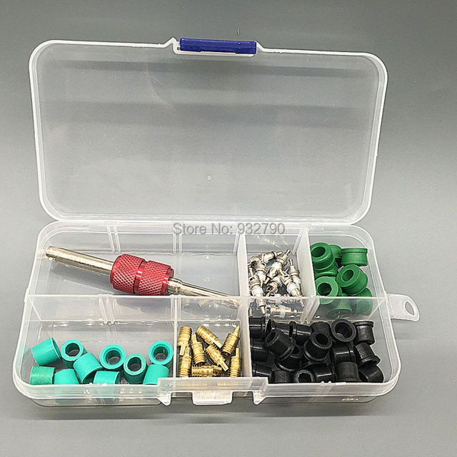 Box Of A/C Air Conditioning Valve Core Remover Installer Tool 2 Way Tool Key Rubber O-Ring Seals O Ring Seal Kit Washers Gasket