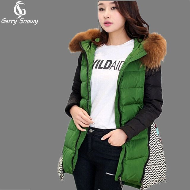 GerrySnowy winter jacket women new fashion real raccoon fur patchwork irregular warm thick long hooded down jacket coat women