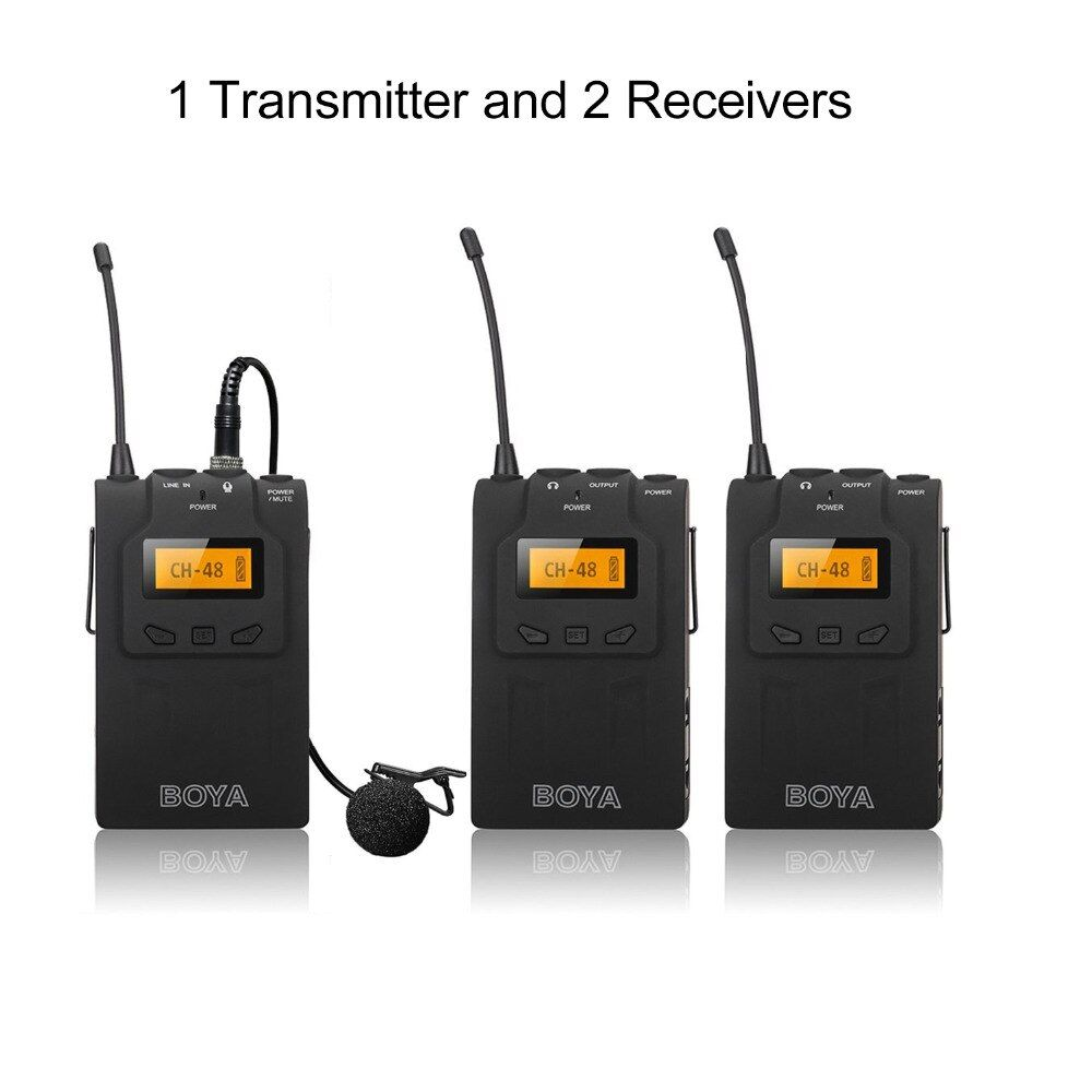 BOYA BY-WM6 Wireless Microphone System For DSLR Camera Outdoor Interview DV Recording Tour Guiding 1transmitter and 2 receivers