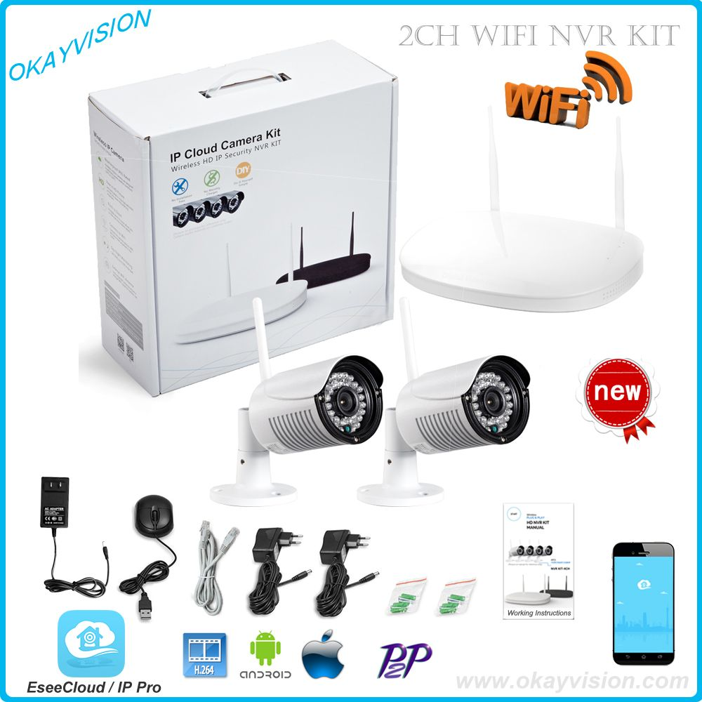 CCTV System 720P 2ch HD Wireless NVR kit Outdoor IR Night Vision IP Camera wifi Camera kit Home Security System Surveillance