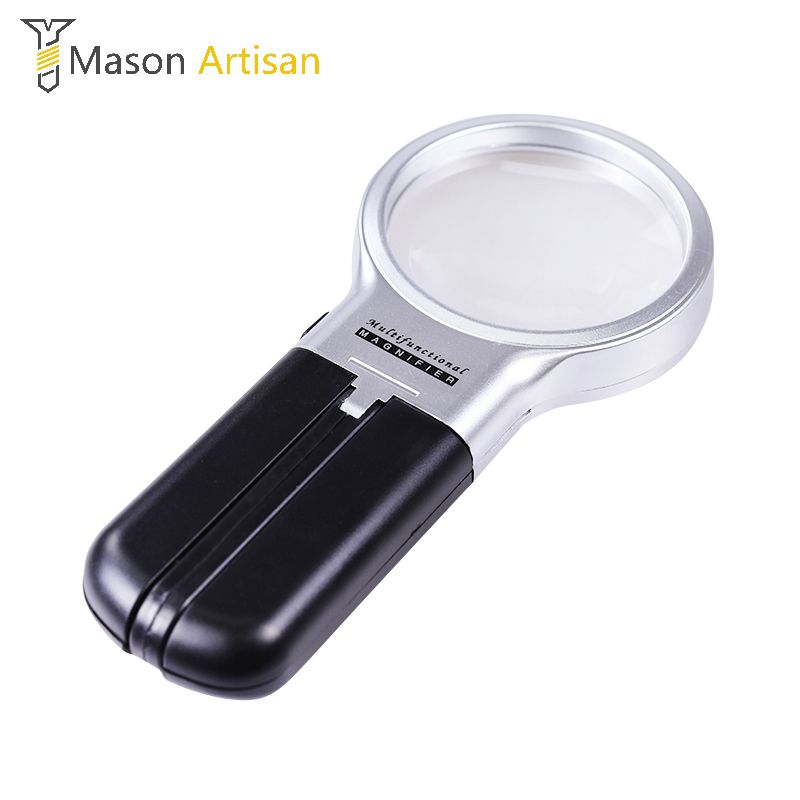 3X Desktop Handheld Reading Magnifier With LED Lights Folding Magnifying Glass Optical Measuring Instruments